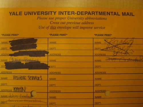Yale University Inter-Departmental Mail